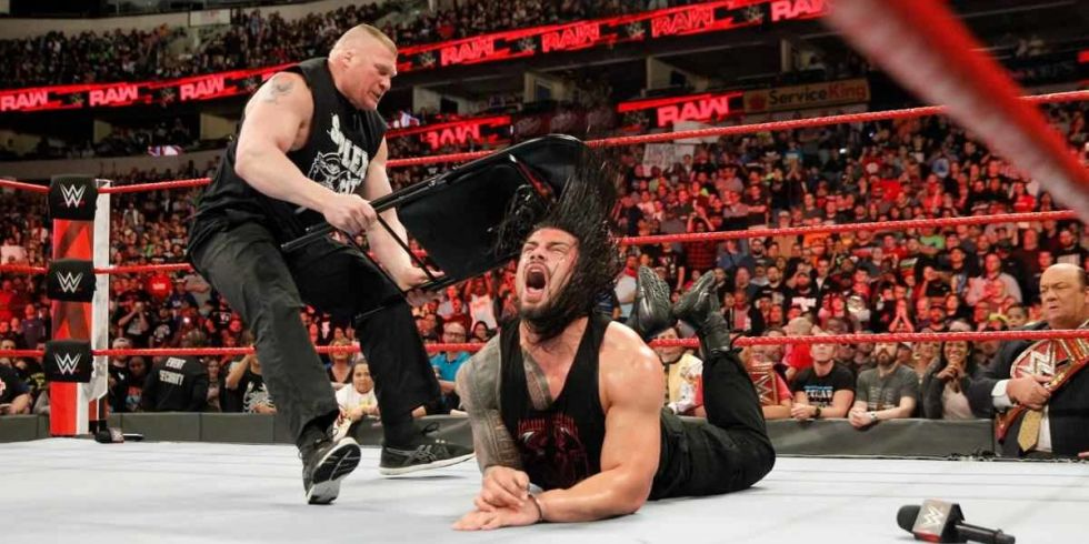 Brock Lesnar And Roman Reigns On WWE Monday Night Raw