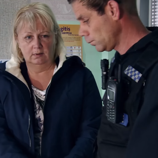 Eileen Grimshaw with the police in Coronation Street
