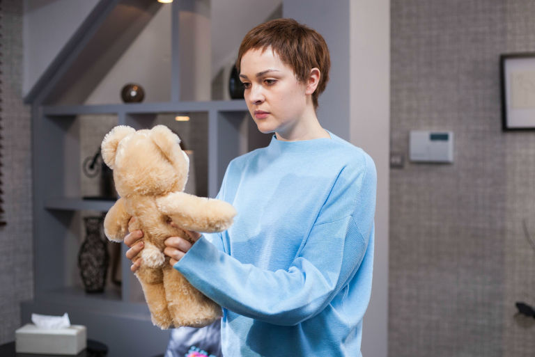 Sienna Blake receives a teddy bear in Hollyoaks