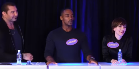 Dave Bautista, Anthony Mackie, Scarlett Johanssen. 01. Avengers cast played  Family Fortunes and ...