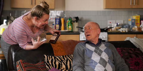 Karen Taylor Explains The Money Situation To Ted Murray In Eastenders