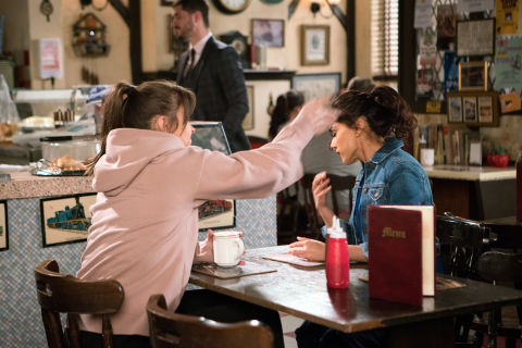 Sophie Webster and Rana Nazir have a row in Coronation Street
