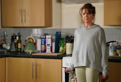 Carmel Kazemi struggles with Keegan's hostile response in EastEnders