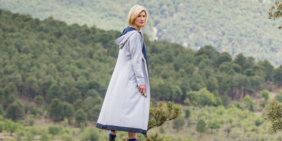 Doctor Who series 11 - Jodie Whittaker atop a hill