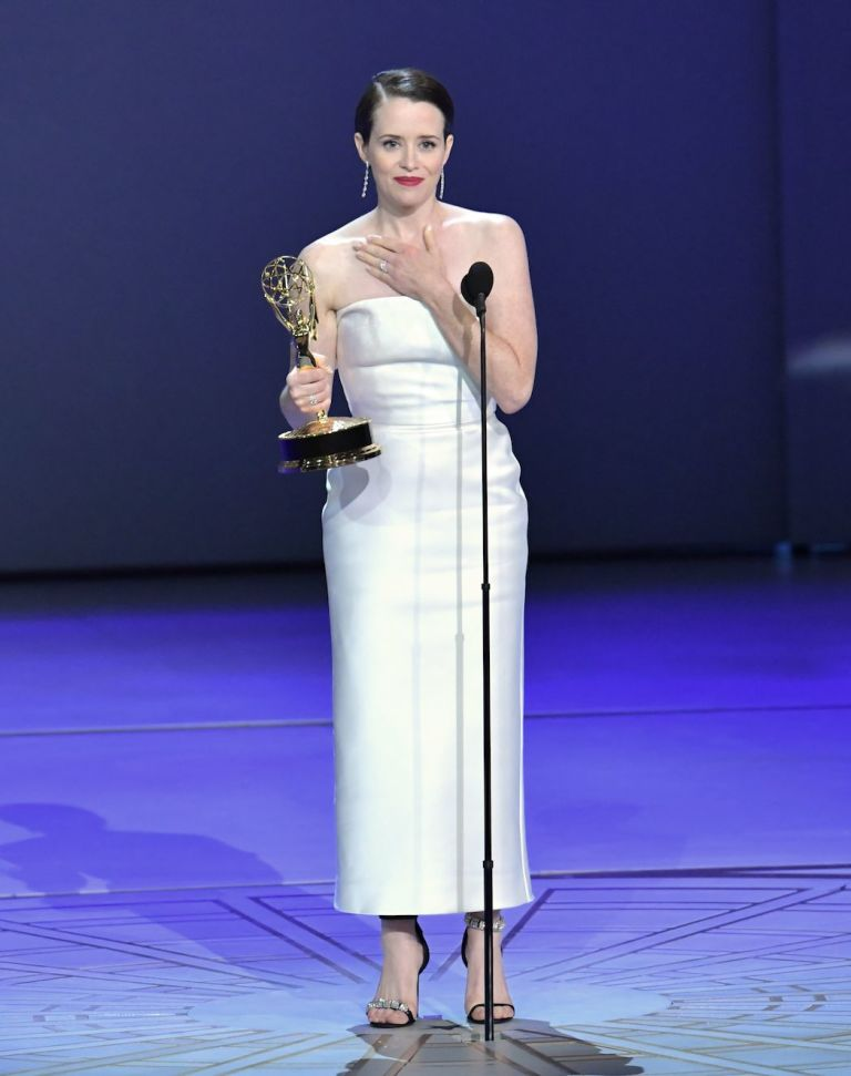 Claire Foy accepts the award for Outstanding Lead Actress in a Drama Series 'The Crown' onstage during the 70th Emmy Awards