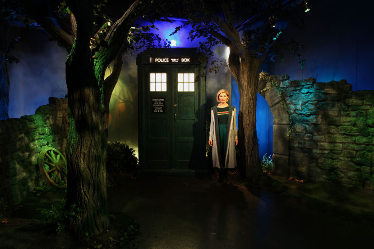 Single Use - Doctor waxwork with the TARDIS from Doctor Who